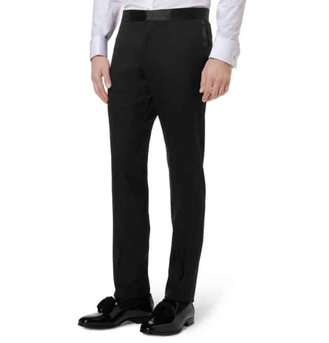 Black slim-fit wool tuxedo trousers Gucci