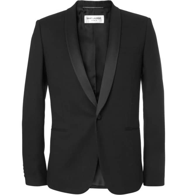 Slim-fit Textured-wool Tuxedo Blazer Saint Laurant