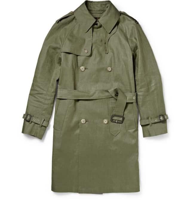 Coated Linen Trench Coat Mackintosh
