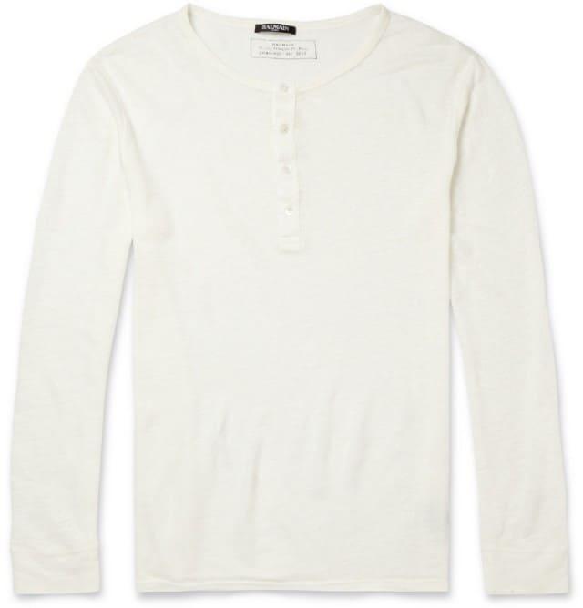 Fine Slub-Linen Henley T-Shirt Balmain