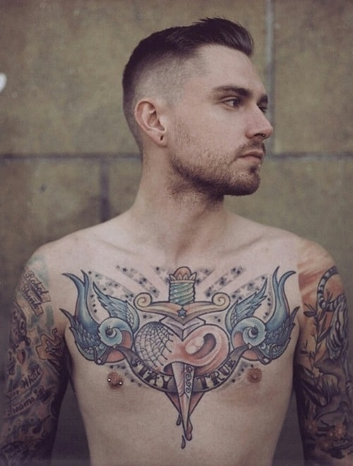 Cute-Birds-Tattoo-on-Chest-for-Men