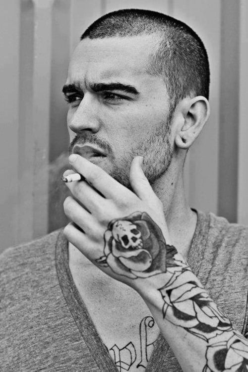 Skull-with-Rose-Tattoo-on-Hand-for-Men