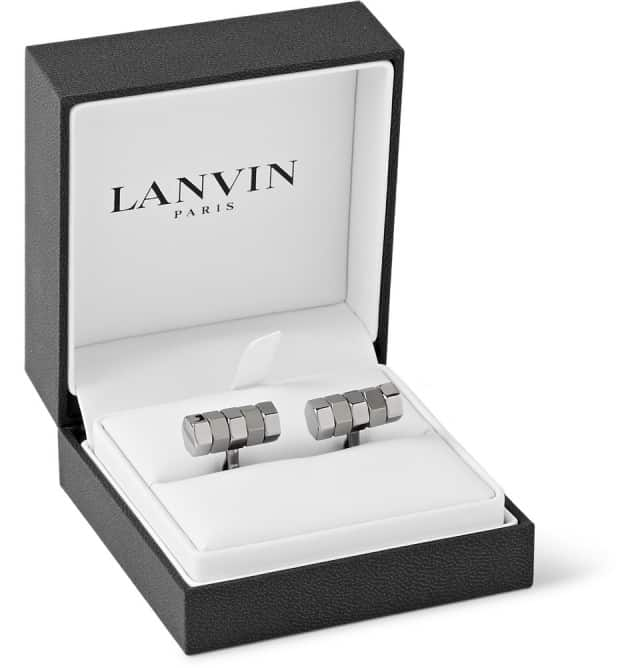 Lanvin BOLT RHODIUM-PLATED CUFFLINKS