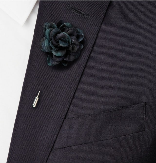 Lanvin Plaid Buttonhole Flower Pin