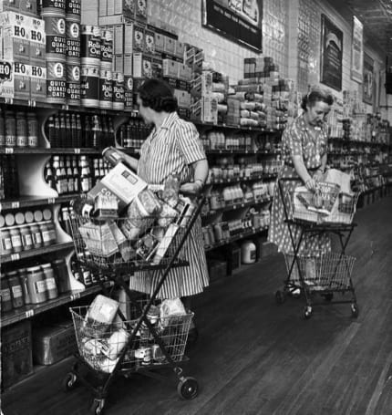 grocery shopping retro
