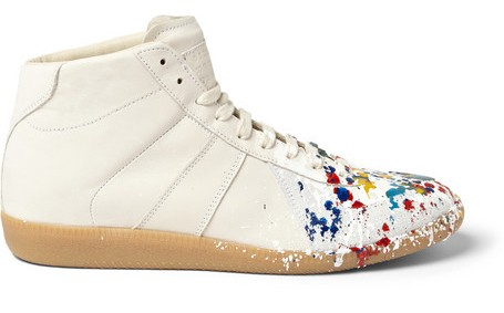 Paint Splattered Leather High Top Sneakers Martin Margiela