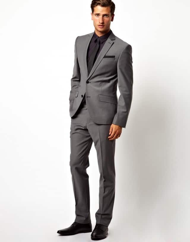 Slim Fit Suit Jacket in Grey Red Eleven