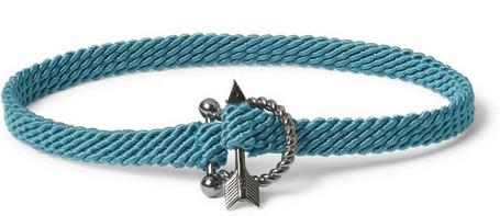 Sterling Silver Diamond And Woven Cord Bracelet Yuvi