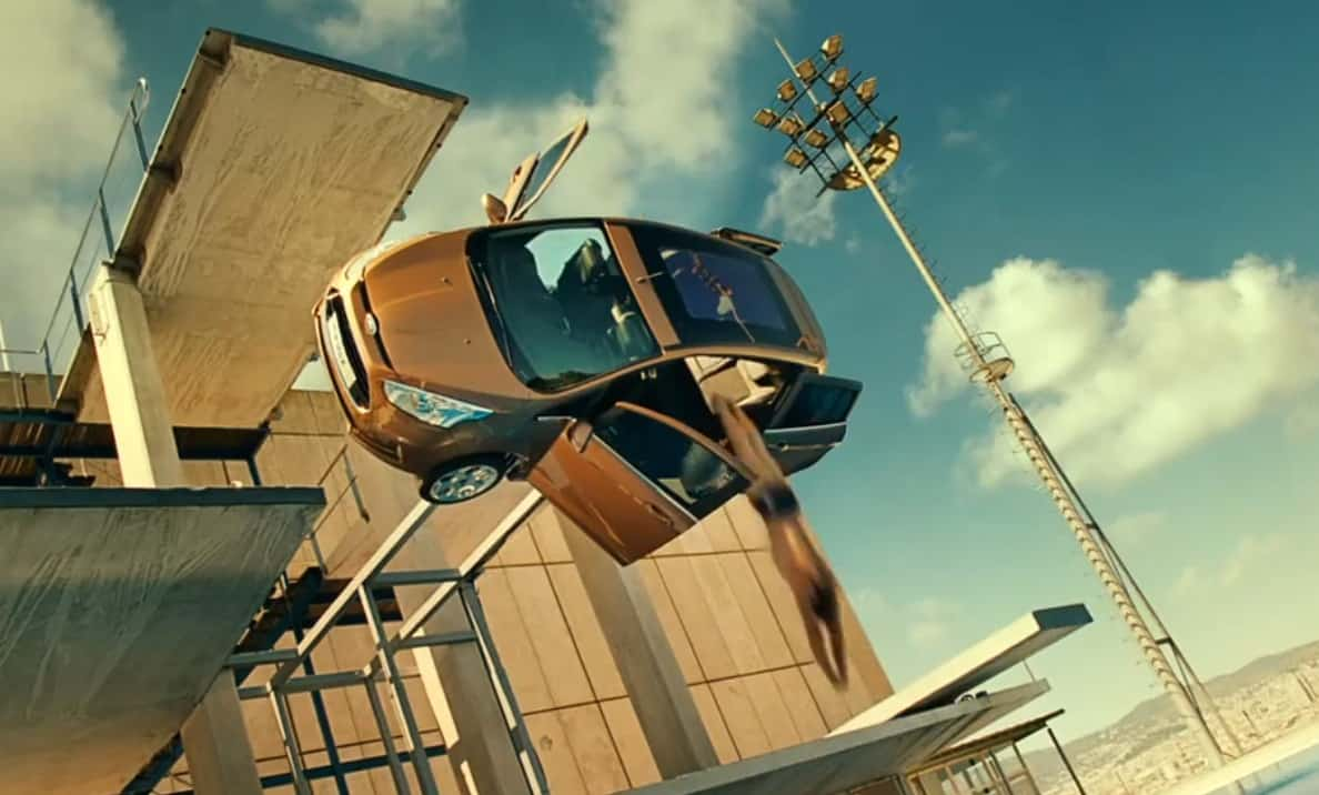 man dives through ford b max in new commercial video