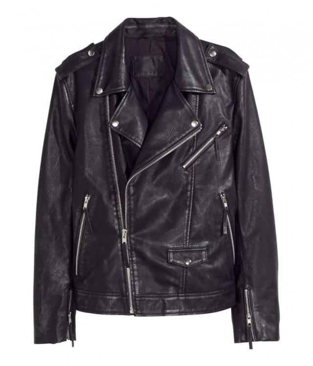 Herrekollektion fra H&M - Bikerjakke i læder H&M