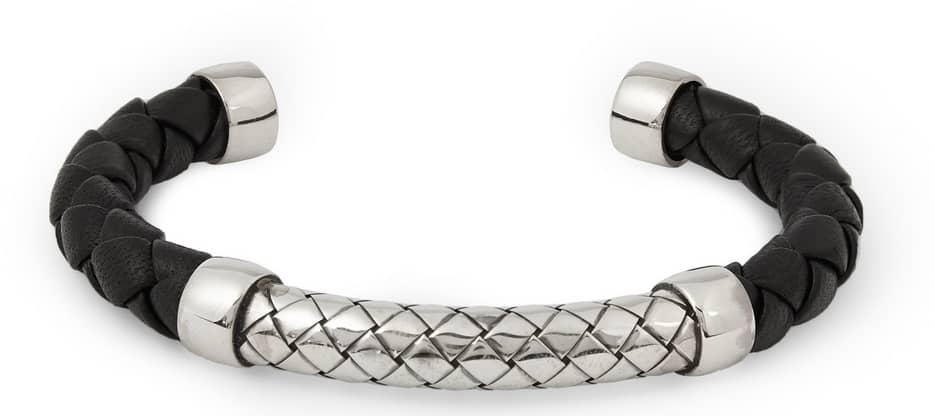 Bottega Veneta Intrecciato Leather and Silver Cuff